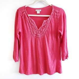 LUCKY BRAND V-Neck 3/4 Sleeve Salmon Top Size M